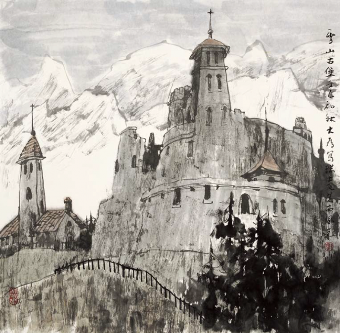 Castels in Snowy Mountains (69x71cm)