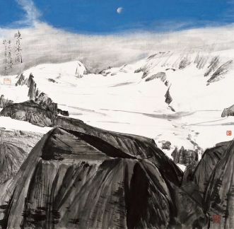 Morning Moon on icy Mountain   (69x70cm)