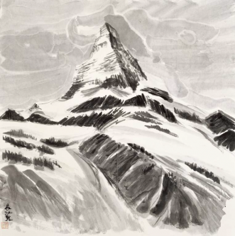The blue Peak in Snow and Clouds   (68,5x68,5cm)
