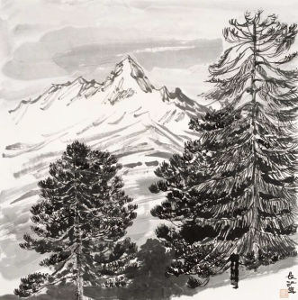 Forest in a winter landscape   (68,5x68,5cm)