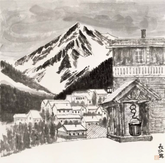 Mountain Chalets and the Spring Thaw  (68,5x68,5cm)