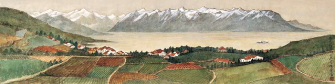 CUI Xiaodong - Lake of Geneva   (33x130,5cm)